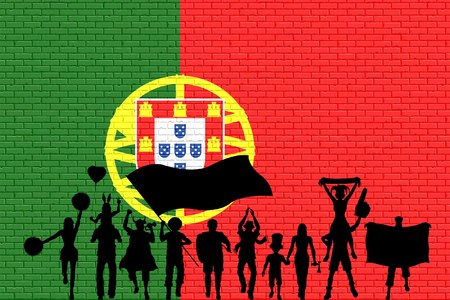 Portuguese supporter silhouette in front of Brick wall with Portugal flag. All the objects, silhouettes and the brick wall are in different layers.