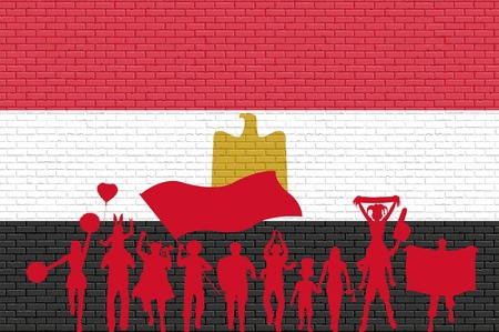 Egyptian supporter silhouette in front of brick wall with Egypt flag. All the objects, silhouettes and the brick wall are in different layers. Illustration
