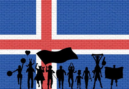 Icelander supporter silhouette in front of brick wall with Iceland flag. All the objects, silhouettes and the brick wall are in different layers. Vettoriali