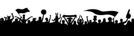 Crowd fans silhouettes. The silhouette and the background are in different layers. Illustration