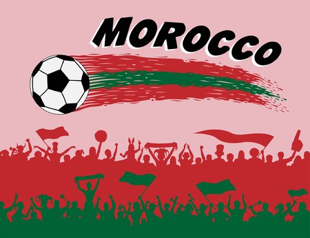 Moroccan supporters silhouettes. All the objects, brush strokes and silhouettes are in different layers and the text types do not need any font. Ilustração