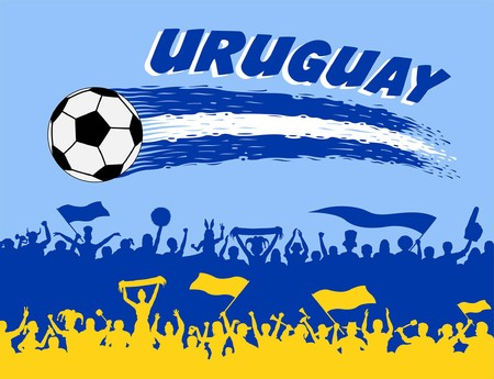 Uruguayan flag colors with soccer ball and Uruguayan supporters silhouettes. All the objects, brush strokes and silhouettes are in different layers and the text types do not need any font. Ilustração