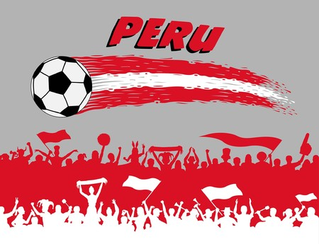 Peruvian flag colors with soccer ball and Peruvian supporters silhouettes. All the objects, brush strokes and silhouettes are in different layers and the text types do not need any font. 일러스트