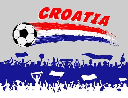 Croatian flag colors on a white background. All the objects, brush strokes and silhouettes are in different layers and the text types do not need any font.