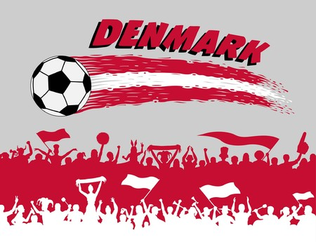 Danish supporters silhouettes. All the objects, brush strokes and silhouettes are in different layers and the text types do not need any font.