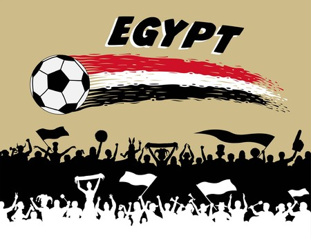 Egyptian flag colors on a white background Egyptian supporters silhouettes. All the objects, brush strokes and silhouettes are in different layers and the text types do not need any font. Ilustração