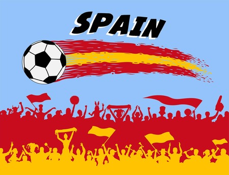 Spain flag colors with soccer ball and Spanish supporters silhouettes. All the objects, brush strokes and silhouettes are in different layers and the text types do not need any font.