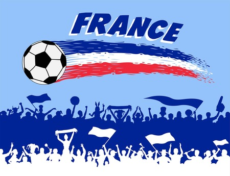 France flag colors. All the objects, brush strokes and silhouettes are in different layers and the text types do not need any font. Imagens - 102642389