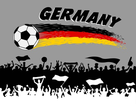 Germany flag colors. All the objects, brush strokes and silhouettes are in different layers and the text types do not need any font.
