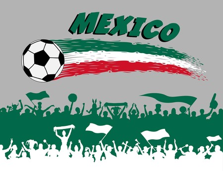 Mexico flag colors with a soccer ball and Mexican supporters silhouettes. All the objects, brush strokes and silhouettes are in different layers and the text types do not need any font.