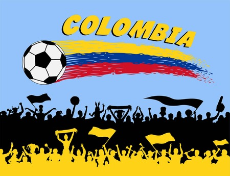 Colombian supporters silhouettes. All the objects, brush strokes and silhouettes are in different layers and the text types do not need any font.