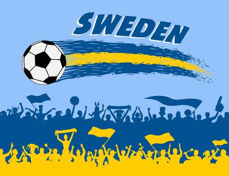 Sweden flag colors and sweden supporters silhouettes. All the objects, brush strokes and silhouettes are in different layers and the text types do not need any font. Archivio Fotografico - 102642394