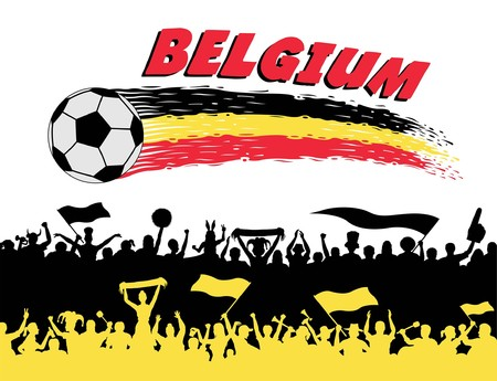 Belgium flag colors in a soccer ball and Belgian supporters silhouettes. All the objects, brush strokes and silhouettes are in different layers and the text types do not need any font. Illustration