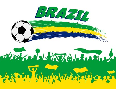 Brazil flag colors on a white background. All the objects, brush strokes and silhouettes are in different layers and the text types do not need any font.
