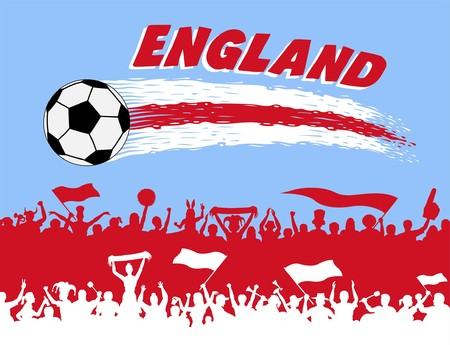 England flag colors with dots and supporters silhouettes. All the objects, brush strokes and silhouettes are in different layers and the text types do not need any font.