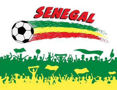 Senegal flag colors with soccer ball and Senegalese supporters silhouettes. All the objects, brush strokes and silhouettes are in different layers and the text types do not need any font.