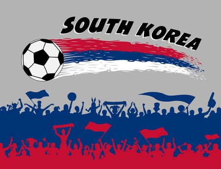 South Korea flag colors with soccer ball and Korean supporters silhouettes. All the objects, brush strokes and silhouettes are in different layers and the text types do not need any font.