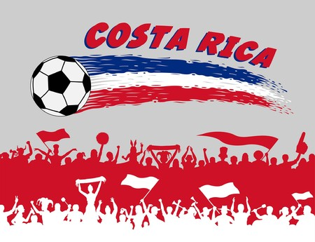 Costa Rica flag colors with soccer ball and Costa Rican supporters silhouettes. All the objects, brush strokes and silhouettes are in different layers and the text types do not need any font.
