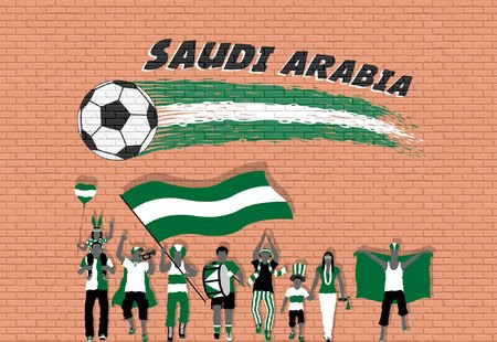 Arab football fans cheering with Saudi Arabia flag colors in front of soccer ball graffiti. All the objects are in different layers and the text types do not need any font. Illustration