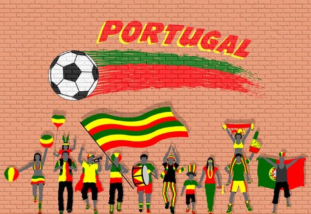 Portuguese football fans cheering with Portugal flag colors in front of soccer ball graffiti. All the objects are in different layers and the text types do not need any font.