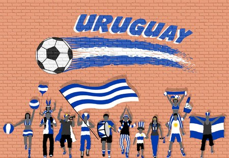 Uruguay football fans cheering with Uruguayan flag colors in front of soccer ball graffiti. All the objects are in different layers and the text types do not need any font.
