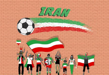 Iranian football fans cheering with Iran flag colors in front of soccer ball graffiti. All the objects are in different layers and the text types do not need any font.