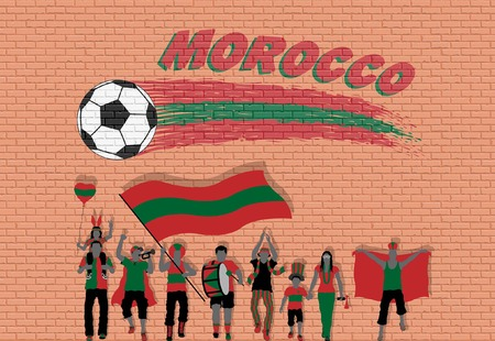 Moroccan football fans cheering with Moroccan flag colors in front of soccer ball graffiti. All the objects are in different layers and the text types do not need any font.