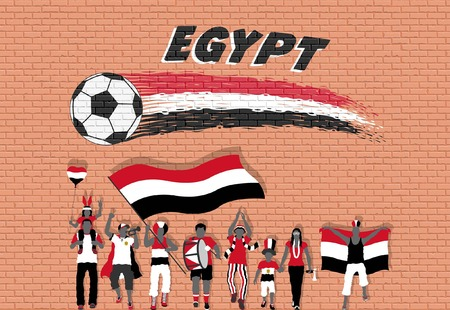 Egyptian football fans cheering with Egypt flag colors in front of soccer ball graffiti. All the objects are in different layers and the text types do not need any font. Illustration