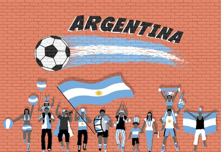 Argentinian football fans cheering with Argentine flag colors in front of soccer ball graffiti. All the objects are in different layers and the text types do not need any font.