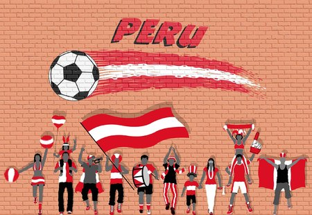 Peruvian football fans cheering with Peruvian flag colors in front of soccer ball graffiti. All the objects are in different layers and the text types do not need any font.