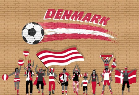 Danish football fans cheering with Denmark flag colors in front of soccer ball graffiti. All the objects are in different layers and the text types do not need any font.