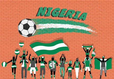 Nigerian football fans cheering with Nigeria flag colors in front of soccer ball graffiti. All the objects are in different layers and the text types do not need any font. Ilustração