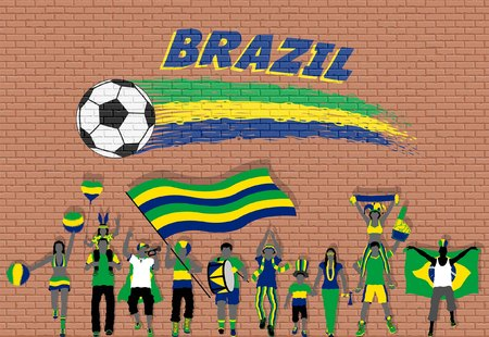 Brazilian football fans cheering with Brazil flag colors in front of soccer ball graffiti. All the objects are in different layers and the text types do not need any font.