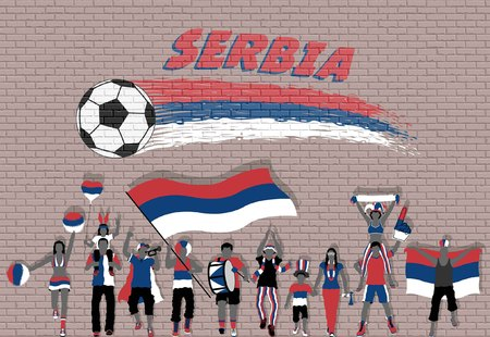 Serbian football fans cheering with Serbia flag colors in front of soccer ball graffiti. All the objects are in different layers and the text types do not need any font.