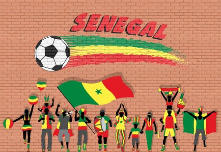 Senegalese football fans cheering with Senegal flag colors in front of soccer ball graffiti. All the objects are in different layers and the text types do not need any font.