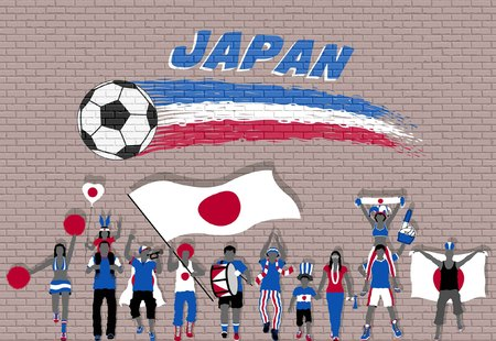 Japanese football fans cheering with Japan flag colors in front of soccer ball graffiti. All the objects are in different layers and the text types do not need any font. Vettoriali