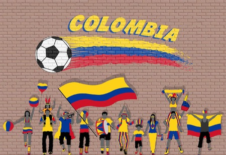 Colombian football fans cheering with Colombian flag colors in front of soccer ball graffiti. All the objects are in different layers and the text types do not need any font. Ilustração