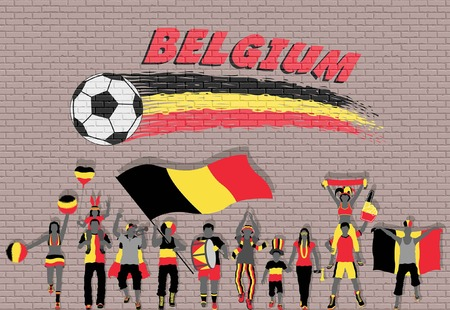 Belgian football fans cheering with Belgium flag colors in front of soccer ball graffiti. All the objects are in different layers and the text types do not need any font. Иллюстрация