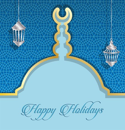 Happy Holidays greeting card with mosque dome and ramadan lanterns. All the objects are in different layers and the text types do not need any font.