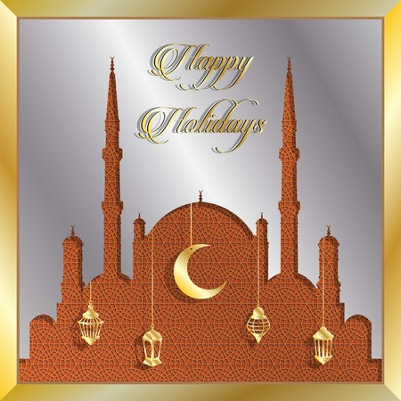 Happy Holidays greeting card with silver mosque and gold lanterns. All the objects are in different layers and the text types do not need any font. Ilustração
