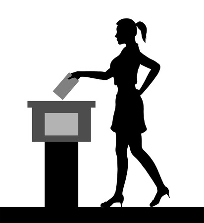 young woman voter silhouette by voting for election. All the silhouette objects and background are in different layers.