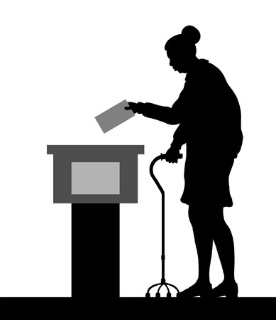 Old woman voter silhouette by voting for election. All the silhouette objects and background are in different layers.
