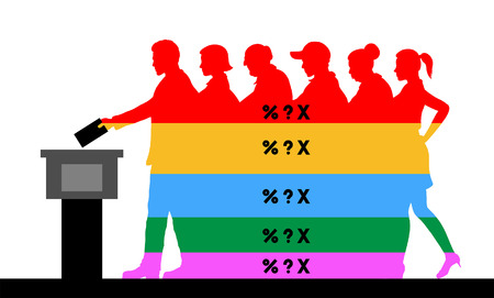 voters crowd silhouette with election results of political parties percentages. All the silhouette objects, texts and backgrounds are in different layers and the text types do not need any font. Ilustração