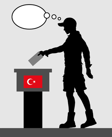 Turkish voter young man voting for election in Turkey with thought bubble. All the silhouette objects and backgrounds are in different layers. Illustration