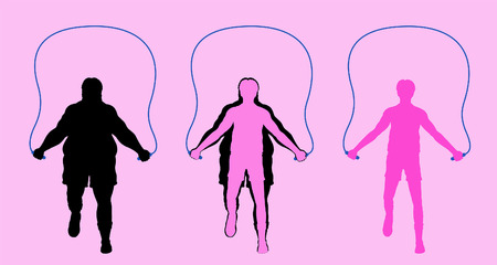 Fat man exercising with jumping rope and losing weight. All the objects are in different layers.