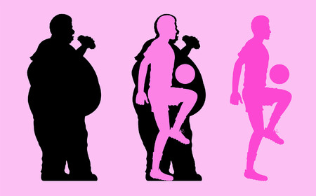 Fat and Slim Man Silhouette playing football. All the objects are in different layers.