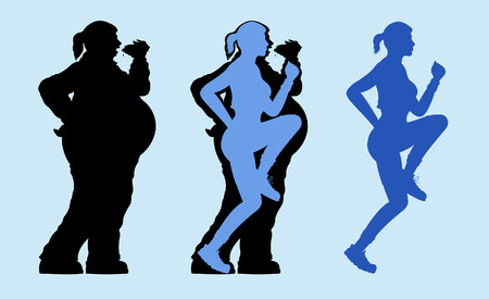 Fat and slim woman exercising silhouette. All the objects are in different layers.
