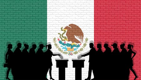 Mexican voters crowd silhouette in election Mexico flag graffiti in front of brick wall. All the silhouette objects, icons and backgrounds are in different layers.