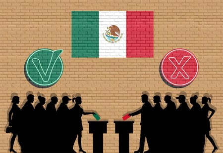 Mexican voters crowd silhouette in check mark and Mexico flag graffiti. All the silhouette objects, icons and backgrounds are in different layers. Illustration
