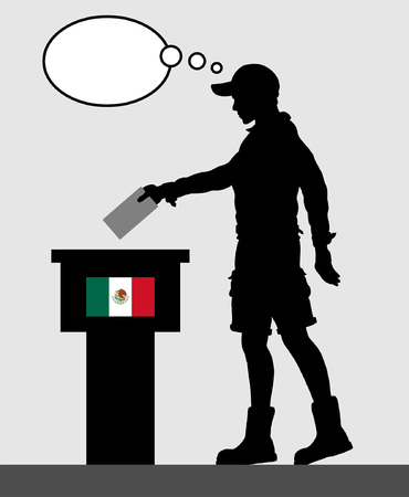 Mexican voter young man voting for election in Mexico with thought bubble. All the silhouette objects and backgrounds are in different layers.